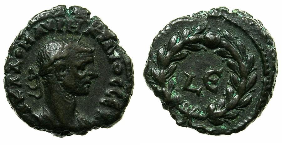 Ancient Coins - EGYPT.ALEXANDRIA.Aurelian AD 270-275.Billon Tetradrachm, struck AD 273/74.~#~Date within laurel wreath.