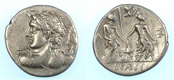 Ancient Coins - ROME.REPUBLIC.L.Caesius 112 or 111 BC.AR.Denarius.Apollo Rev.Lares Praestites.