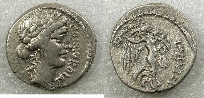 Ancient Coins - ROME Republic L Vinicius 52 BC AR Denarius