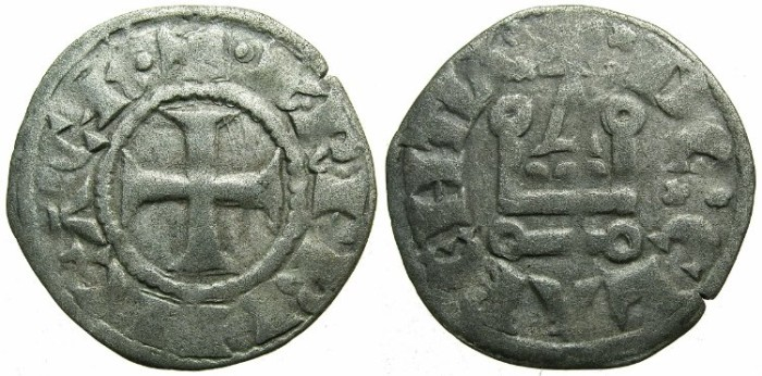 Ancient Coins - CRUSADER. ACHAIA.Charles I or II of Anjou AD 1278-1285-1289.Bi.Denier.Type KA 101