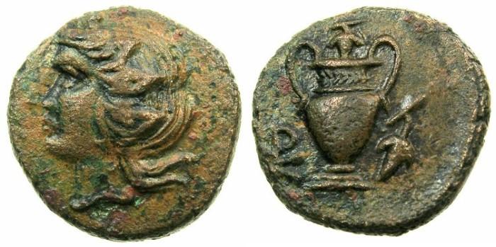 Ancient Coins - CORCYRA ( Island of CORFU ).Roman dominion circa 229-48 BC.AE.20.3mm.~~~Dionysus.~#~.Amphora.