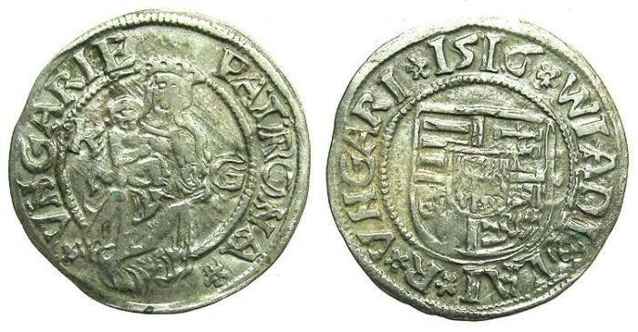 Ancient Coins - HUNGARY.Wladislaw II AD 1490-1516.AR.Denar 1516.Kremnitz mint.