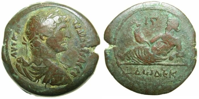 Ancient Coins - EGYPT.ALEXANDRIA.Hadrian AD 117-138.AE.Drachma, struck AD 126/127.~#~.Nilus reclining, Hippopotamus below.
