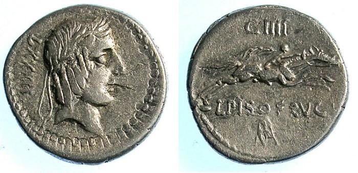 Ancient Coins - ROME.REPUBLIC.L.Calpurnius PisoL.f.L.n.Frugi 90 BC.AR.Denarius.Apollo Rev.Horseman