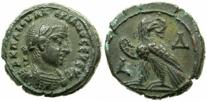 Ancient Coins - EGYPT.ALEXANDRIA.Valerian I ( The elder ) AD 253-260.Billon Tetradrachm Struck AD 256/57.~#~.Eagle left on thunderbolt.