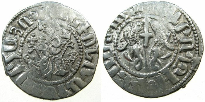 World Coins - CILICIAN ARMENIA.Levon I AD 1198-1219.AR.Tram.~#~.King holds cross pommee.