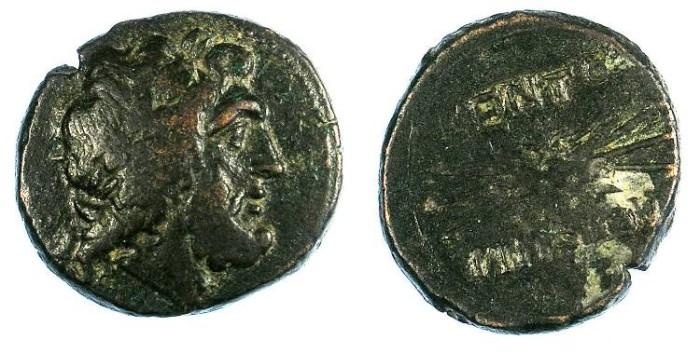 Ancient Coins - SICILY.Kentoripai.After 210 BC.AE.dekontia ,23mm.Zeus.Rev.Thunderbolt.