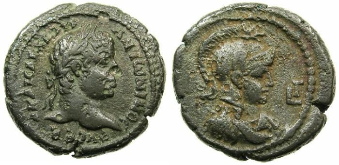 Ancient Coins - EGYPT.ALEXANDRIA.Elagabalus AD 218-222.Billon Tetradrachm, struck AD 219/220. ~#~.Bust of Athena.
