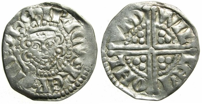 """Ancient Coins - ENGLAND.Henry III AD 1216-1272.AR.Penny.""""Long cross""""class 5B.Moneyer WILLEM.Mint of LONDON."""