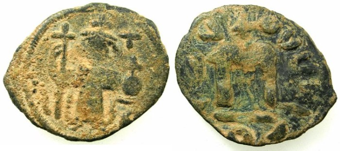 Ancient Coins - PSEUDO-BYZANTINE.7th Cent AD.AE.Follis. after Constans II ( AD 642-668).~~~ standing imperial figure