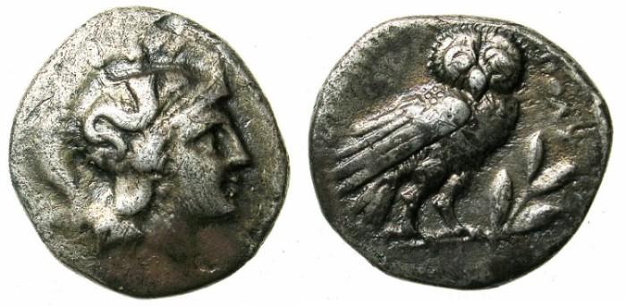 Ancient Coins - CALABIA.TARENTUM.4th - 3rd cent.BC.AR.Drachma.Athena / Owl.