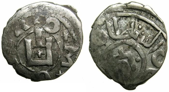 Ancient Coins - CRUSADER.CAFFA, Genoese colony.Dirlet Bird Khan 831H ( AD 1427-1428 ).AR.Aspron ( denier ).~~~****Ex Slocum collection~~~****