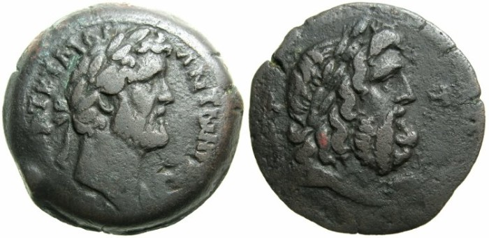 Ancient Coins - EGYPT.ALEXANDRIA.Antoninus Pius AD 138-161.AE.Drachma.Year 8?( AD 144-145).Laurate bust of ZEUS.