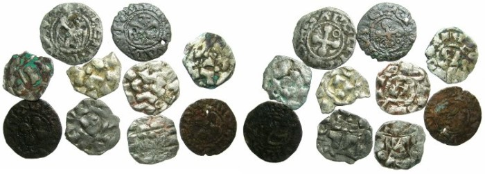 Ancient Coins - CRUSADER.European preferred coinage of the First crusade.Deniers of Lucca ( 6 ) and Valence ( 4)