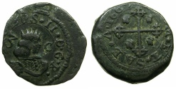 World Coins - ITALY.Carlos II of Spain, king of Naples and Sicily and Sardina 1665-1700.AE.3 Cagliaresi 1669