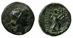 Ancient Coins - THESSALY.Thessalian league circa Mid to late 1st cent BC.AE.20.9mm.~#~.Artemis holding two tourches.