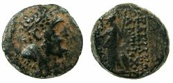 Ancient Coins - SELEUCID EMPIRE.Antiochus IX 2nd reign circa 110/09-108/7 BC.AE.18.8mm. Bust of Herakles.~#~.Athena standing.
