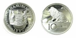 World Coins - NAMIBIA.Republic.Silver Proof.Eassai. 10 Mark.1990.