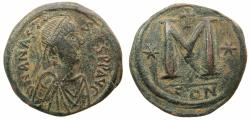 Ancient Coins - BYZANTINE EMPIRE.Anastasius I AD 491-518.AE.Follis.Large module.Mint of CONSTANTINOPLE.