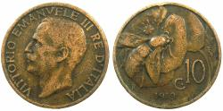 World Coins - ITALY.Victor Emmanuel III 1900-1946.AE.10 Centesimi 1919.****RARE DATE****