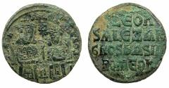 Ancient Coins - BYZANTINE EMPIRE.Leo VI The Wise with Alexander Co-Emperor AD 886-912.AE.Follis.Mint of CONSTANTINOPLE.