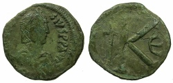 Ancient Coins - BYZANTINE EMPIRE.Anastasius I AD 491-518.AE. Half Follis. Mint of CONSTANTINOPLE.