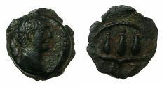 Ancient Coins - EGYPT.ALEXANDRIA.Trajan AD 98-117.Anepigraphic issue. AE.Dichalkon, struck AD 113/14.Reverse.Hem Hem crown of Harpolkrates.