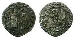 World Coins - ITALY.VENICE.Francesco Venier AD 1554-1556.AR.6 Soldi. Sigla.S.V. ***Rare, single example recorded in CNI ) ***