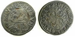 World Coins - ITALY.SARDINIA.Charles II Hapsburg, King of Spain and Sardinia 1665-1700.AR.1 Real  1692 ****THE ONLY DENOMINATION STRUCK IN THIS YEAR ****