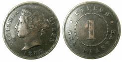 World Coins - CYPRUS.Victoria.AE.1 Piastre 1885.