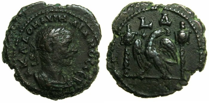 Ancient Coins - EGYPT.ALEXANDRIA.Aurelian AD 270-275.Billon Tetradrachm, struck AD 272/273.~#~.Eagle between two Vexilla