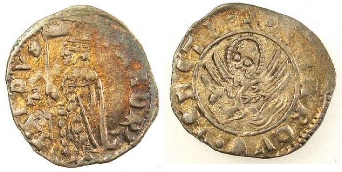 Ancient Coins - ITALY.VENICE.Andrea Contarini AD 1368-1382.AR.Soldino.2nd Type.1st.issue.