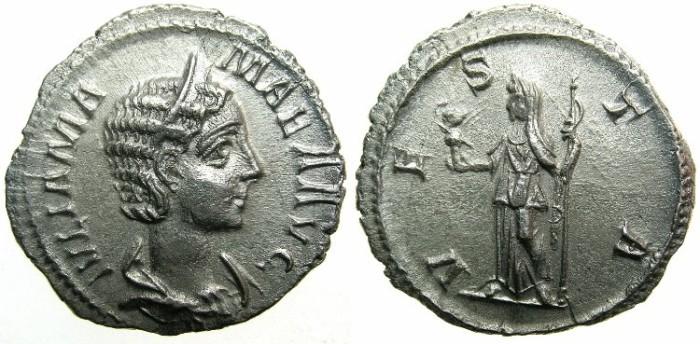 Ancient Coins - ROMAN.Julia Mamaea Augusta, mother of Severus Alexander AD 222-235.AR.Denarius undated c.222.235.~~~VESTA.
