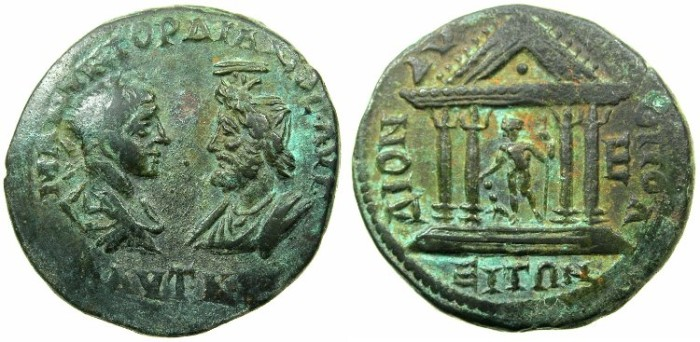 Ancient Coins - MOESIA INFERIOR.DIONISOPOLIS.Gordian III and Serais AD 238-244.AE.5 Assaria.~#~.Temple of Dionysios.