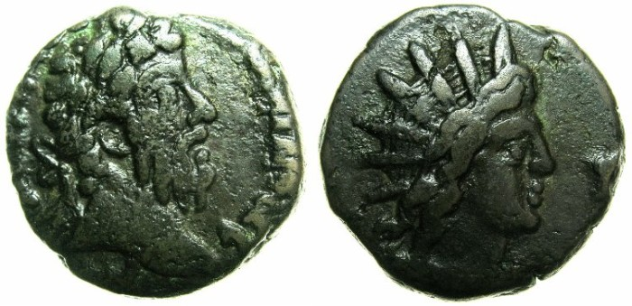 Ancient Coins - EGYPT.ALEXANDRIA.Commodus AD 180-192.Billon Tetradrachm.Struck AD 189/90.~#~Bust of Helios.