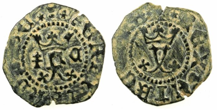 Ancient Coins - SPAIN.CASTILLE AND LEON.Ferdinand V AD 1452-1516.Bi.Blanca.Cuenca mint.