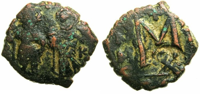 Ancient Coins - BYZANTINE EMPIRE.Heraclius AD 610-641.AE.Follis.~#~ single Heraclian monogram countermark