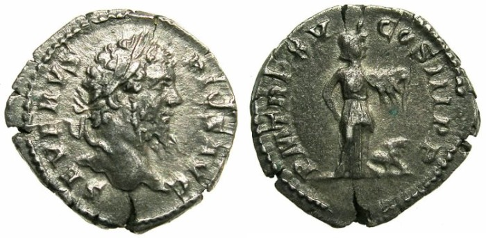 Ancient Coins - ROMAN.Septimius Severius AD AD 193-211.AR.Denarius.Struck AD 207.Africa standing with lion.Sir Charles Oman collection.
