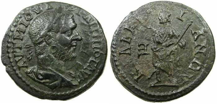 Ancient Coins - MOESIA INFERIOR.KALLATIS.Philip I AD 244-249.AE.5 Assaria.~#~.Serapis standing.