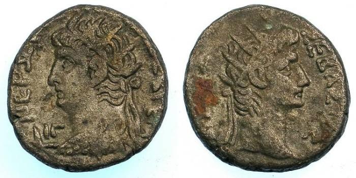 Ancient Coins - EGYPT.ALEXANDRIA. Nero AD 54-68 Bi.Tetradrachm, struck AD 66/67.~#~.Radiate head of AUGUSTUS.