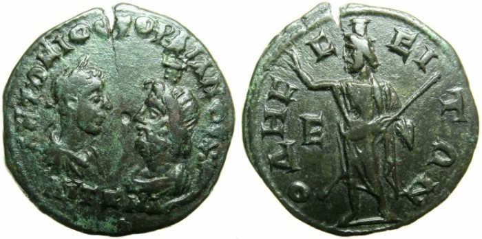 Ancient Coins - THRACE.ODESSUS.Gordian III and Serapis AD 238-244.AE.5 Assaria.~#~Serapis standing.