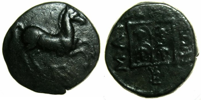 Ancient Coins - THRACE.MARONEIA.Circa 398-347 BC.AE.15.6mm.~~~Prancing horse.~#~Grape arbor.
