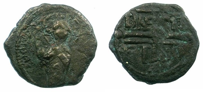 Ancient Coins - CRUSADER.Antioch.Roger of Salerno, regent  AD 1112-1119.AE.Follis.1st type.Christ standing.