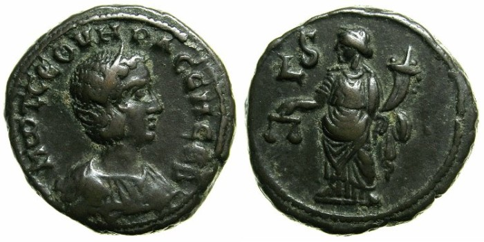 Ancient Coins - EGYPT.ALEXANDRIA.Otacilia Severa, wife of Philip I The Arab AD 244-249.Billon Tetradrachm.Struck AD 248/49~#~Dikaiosyne ( Justice ) standing holding scales.