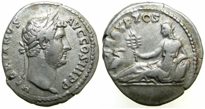 Ancient Coins - ROMAN.Hadrian AD 117-138.AR.Denarius.Struck AD 134-138.Provinces series.~~~EGYPT.