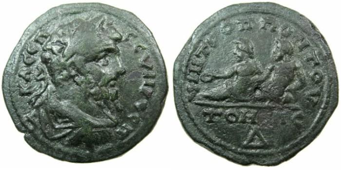 Ancient Coins - MOESIA INFERIOR.TOMIS.Septimius Severus AD 193-211.AE.4 Assaria.~#~.The dioscuri reclining.