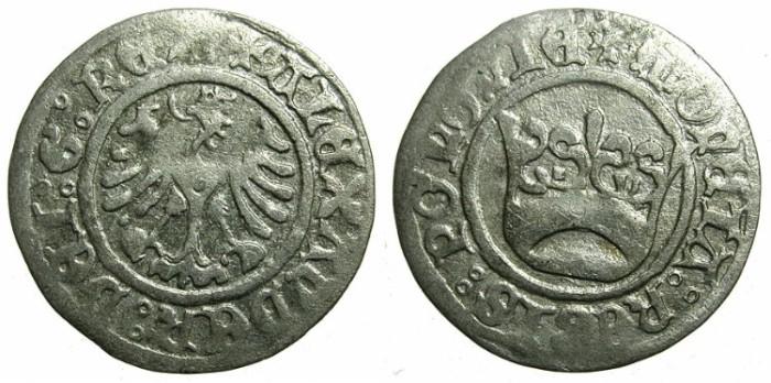 Ancient Coins - POLAND.Alexander The Jagiellonian AD 1501-1506.AR.Half Groschen.N.D.