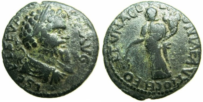 Ancient Coins - PISIDIA.ANTIOCH.Septimius Severus AD 193-211.AE.22.1mm.~#~.Female genius of the city.**** Unpublished reverse legend ? ****