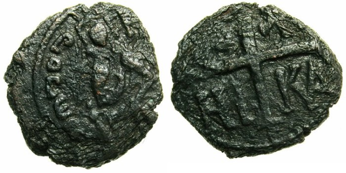 Ancient Coins - ITALY.SICILY.Roger II as king of Sicily AD 1130-1154.AE. Follaro.~~~Roger enthroned.