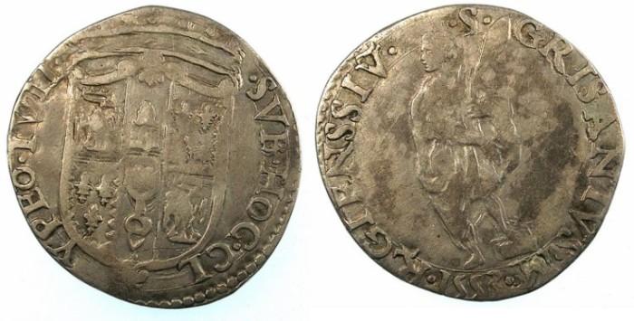 Ancient Coins - ITALY.EMILIA.Reggio.Hercules II De Este 1534-59.AR.Giulio 1553.
